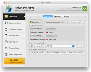 HMA! Pro VPN software