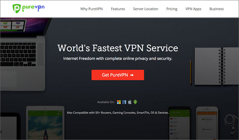 Best Hong Kong VPNs: PureVPN Website