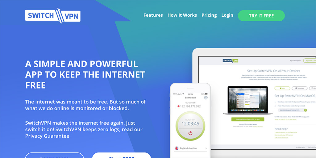 SwitchVPN review: SwitchVPN website