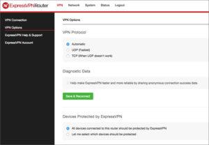 ExpressVPN VPN Router admin page