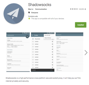 Shadowsocks Android App in Google Play Store.