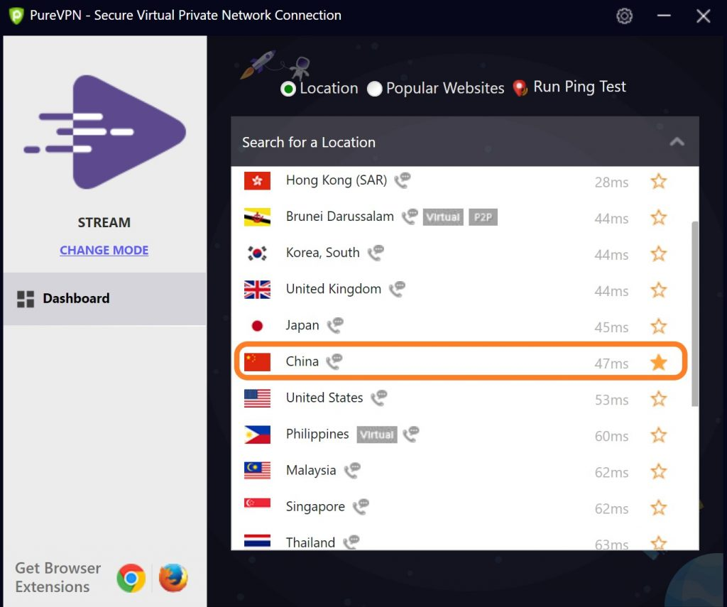VPN to China: PureVPN